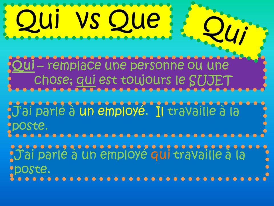 Qui – remplace une personne ou une chose; qui est toujours le SUJET Qui vs Que J'ai parlé à un employé. Il travaille à la poste. J'ai parlé à un emplo