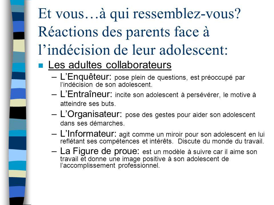 Et vous…à qui ressemblez-vous? Réactions des parents face à l'indécision de leur adolescent: n Les adultes récalcitrants –Le Décrocheur: est dépassé p