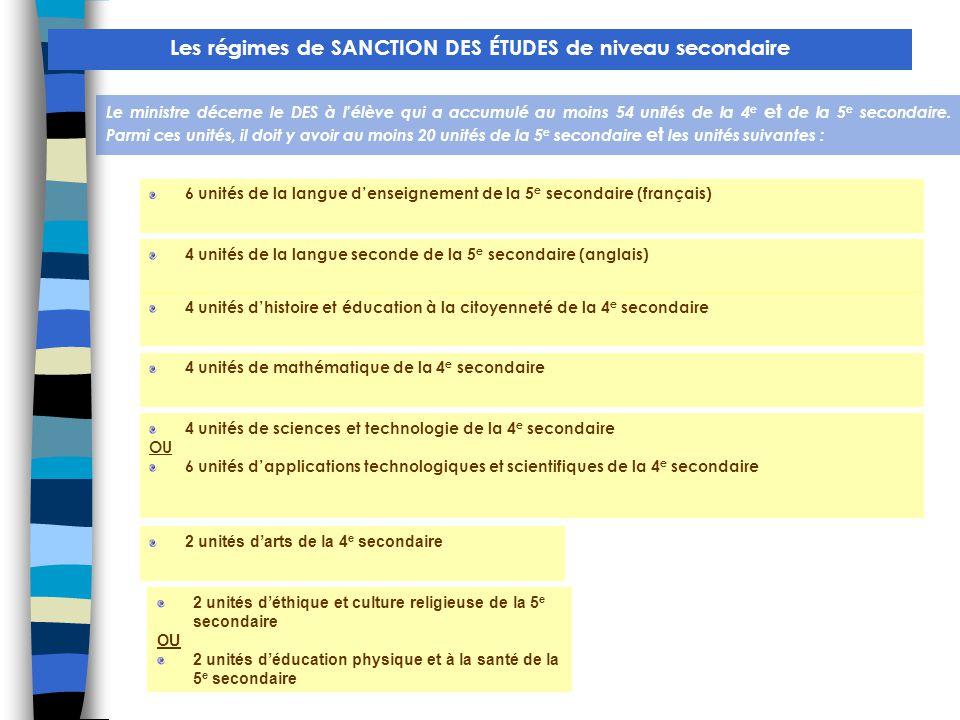 Les régimes de SANCTION DES ÉTUDES de niveau secondaire Le ministre décerne le DES à l'élève qui a accumulé au moins 54 unités de la 4 e et de la 5 e secondaire.