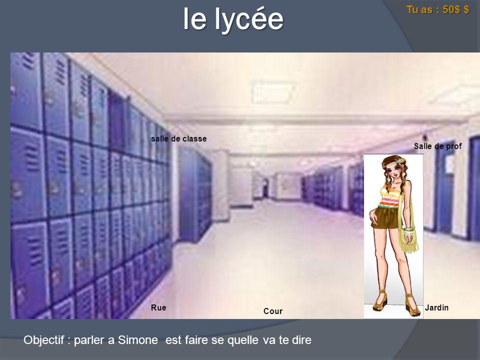 le lycée le lycée Salle de prof salle de classe RueJardin Cour Salut chérie qu es qu il se passe alors .
