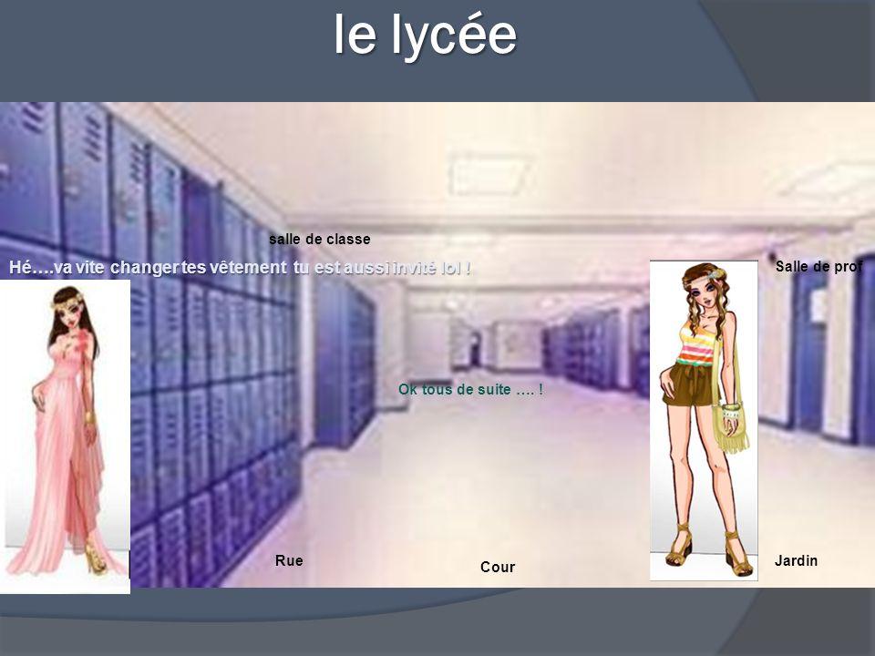 le lycée le lycée Salle de prof salle de classe RueJardin Cour Hé….va vite changer tes vêtement tu est aussi invité lol .
