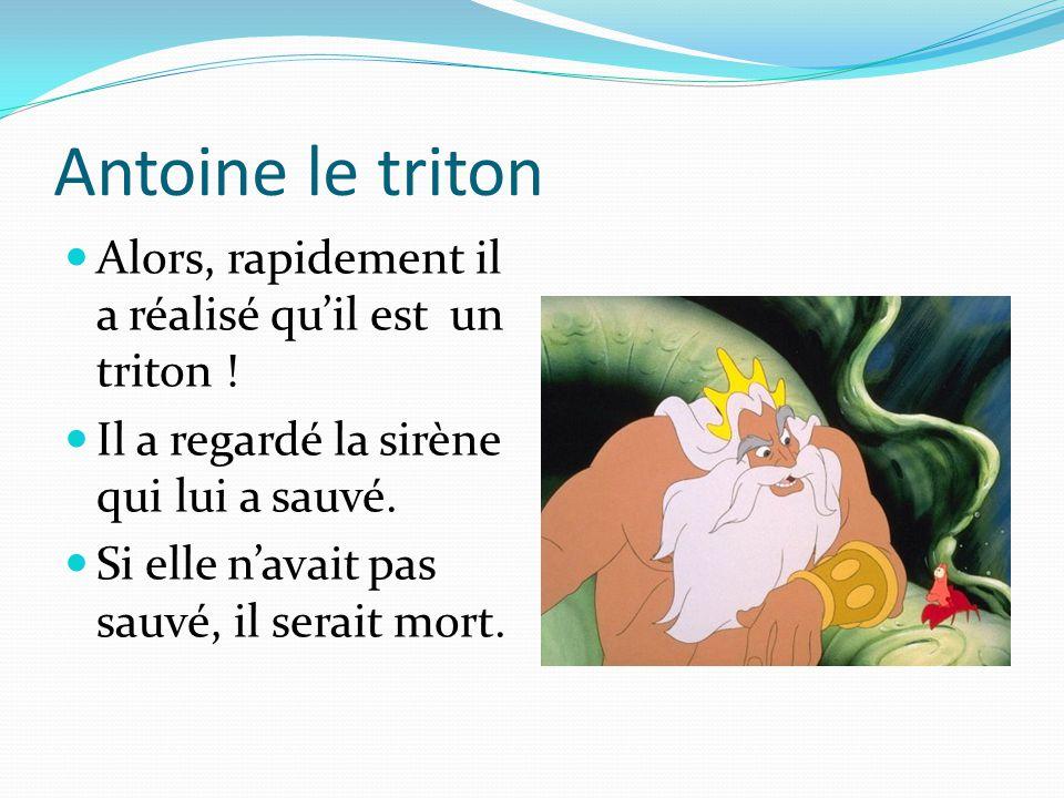 Antoine le triton Alors, rapidement il a réalisé qu'il est un triton ! Il a regardé la sirène qui lui a sauvé. Si elle n'avait pas sauvé, il serait mo