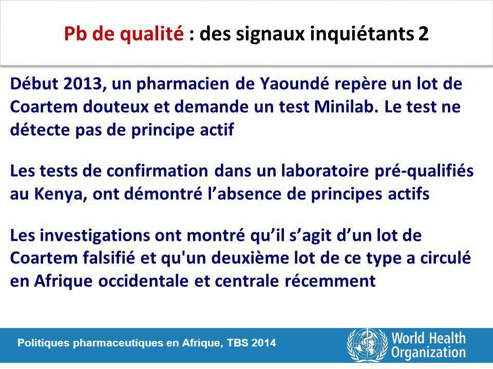 Politiques pharmaceutiques en Afrique, TBS 2014 Pb de qualité : des signaux inquiétants 2 Début 2013, un pharmacien de Yaoundé repère un lot de Coarte