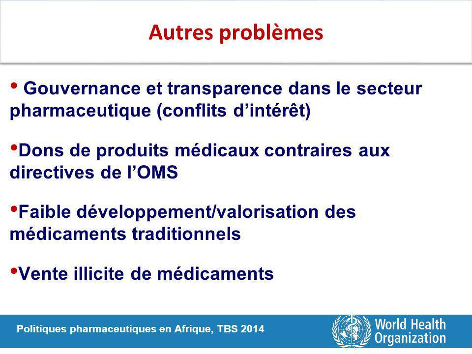 Politiques pharmaceutiques en Afrique, TBS 2014 Autres problèmes Gouvernance et transparence dans le secteur pharmaceutique (conflits d'intérêt) Dons de produits médicaux contraires aux directives de l'OMS Faible développement/valorisation des médicaments traditionnels Vente illicite de médicaments