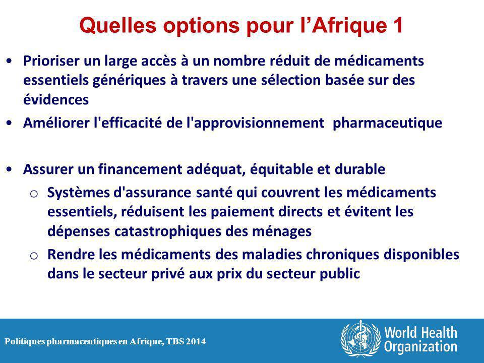 Politiques pharmaceutiques en Afrique, TBS 2014 Quelles options pour l'Afrique 1 Prioriser un large accès à un nombre réduit de médicaments essentiels
