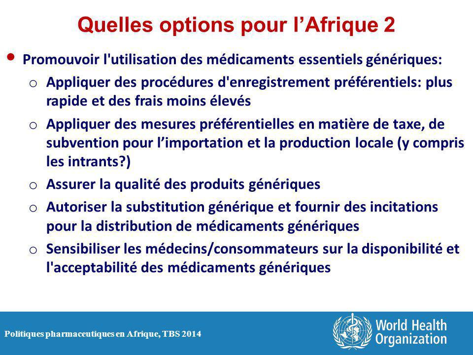 Politiques pharmaceutiques en Afrique, TBS 2014 Quelles options pour l'Afrique 2 Promouvoir l'utilisation des médicaments essentiels génériques: o App