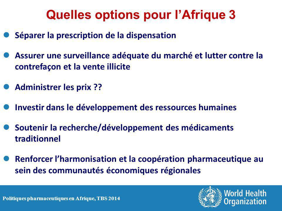 Politiques pharmaceutiques en Afrique, TBS 2014 Quelles options pour l'Afrique 3 Séparer la prescription de la dispensation Assurer une surveillance a
