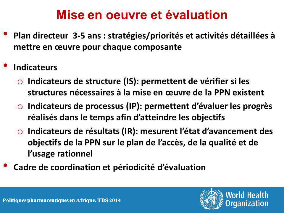 Politiques pharmaceutiques en Afrique, TBS 2014 Mise en oeuvre et évaluation Plan directeur 3-5 ans : stratégies/priorités et activités détaillées à mettre en œuvre pour chaque composante Indicateurs o Indicateurs de structure (IS): permettent de vérifier si les structures nécessaires à la mise en œuvre de la PPN existent o Indicateurs de processus (IP): permettent d'évaluer les progrès réalisés dans le temps afin d'atteindre les objectifs o Indicateurs de résultats (IR): mesurent l'état d'avancement des objectifs de la PPN sur le plan de l'accès, de la qualité et de l'usage rationnel Cadre de coordination et périodicité d'évaluation