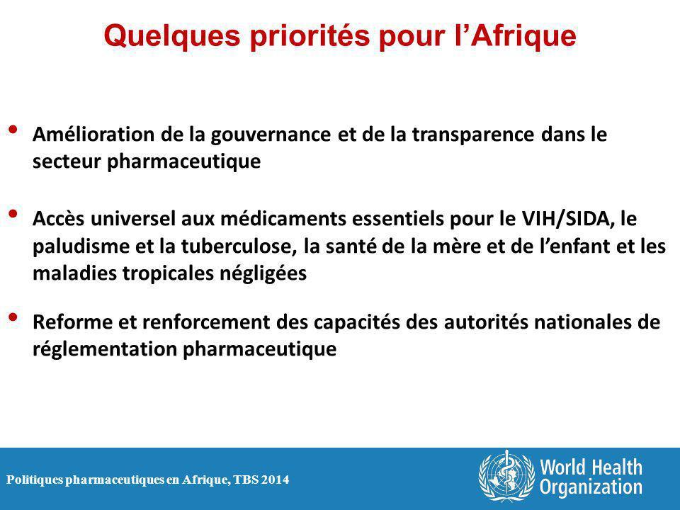 Politiques pharmaceutiques en Afrique, TBS 2014 Quelques priorités pour l'Afrique Amélioration de la gouvernance et de la transparence dans le secteur pharmaceutique Accès universel aux médicaments essentiels pour le VIH/SIDA, le paludisme et la tuberculose, la santé de la mère et de l'enfant et les maladies tropicales négligées Reforme et renforcement des capacités des autorités nationales de réglementation pharmaceutique
