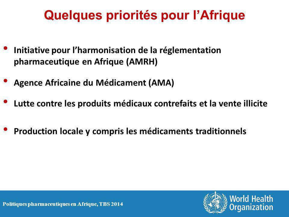 Politiques pharmaceutiques en Afrique, TBS 2014 Quelques priorités pour l'Afrique Initiative pour l'harmonisation de la réglementation pharmaceutique en Afrique (AMRH) Agence Africaine du Médicament (AMA) Lutte contre les produits médicaux contrefaits et la vente illicite Production locale y compris les médicaments traditionnels