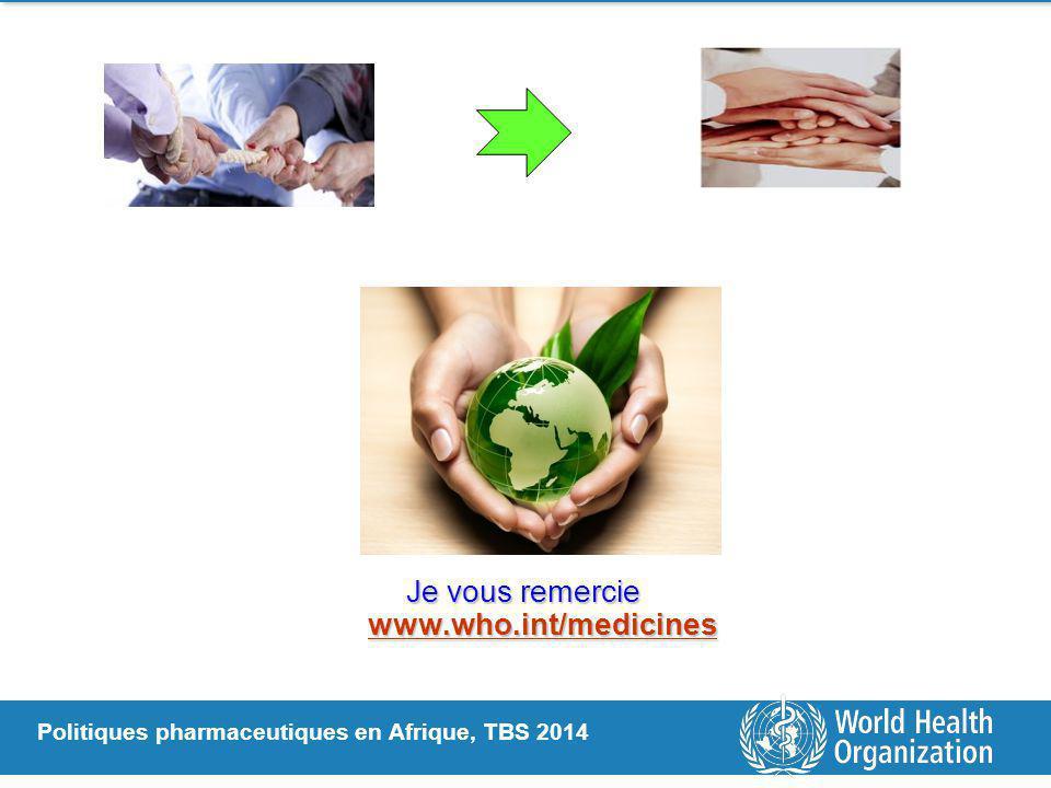 Politiques pharmaceutiques en Afrique, TBS 2014 Je vous remercie www.who.int/medicines www.who.int/medicines
