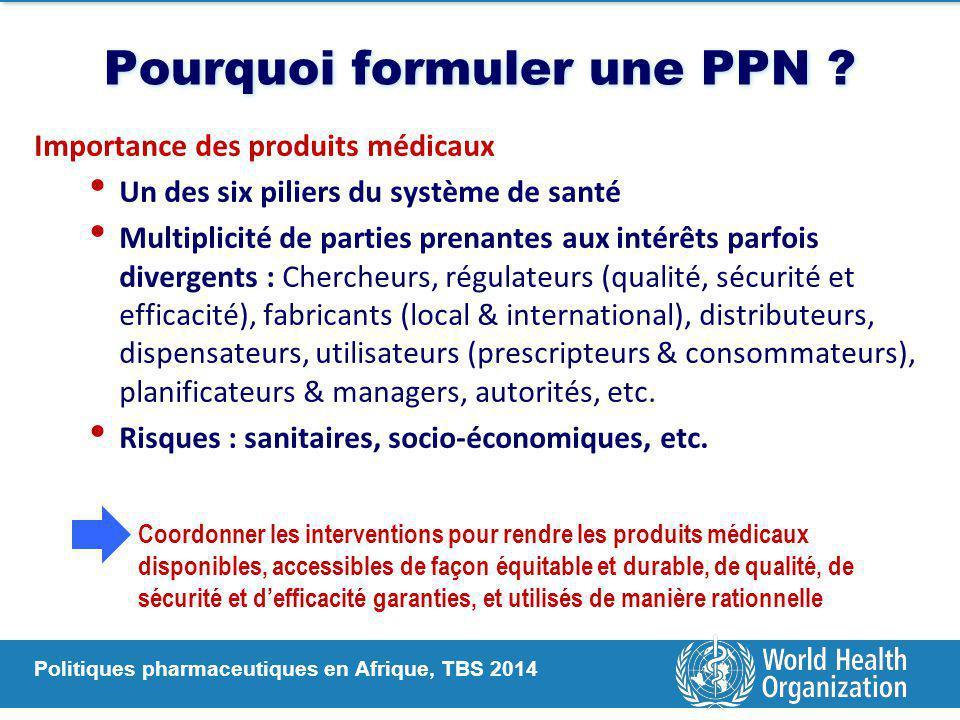 Politiques pharmaceutiques en Afrique, TBS 2014 Pourquoi formuler une PPN ? Importance des produits médicaux Un des six piliers du système de santé Mu