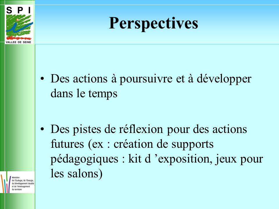 Perspectives Des actions à poursuivre et à développer dans le temps Des pistes de réflexion pour des actions futures (ex : création de supports pédagogiques : kit d 'exposition, jeux pour les salons)