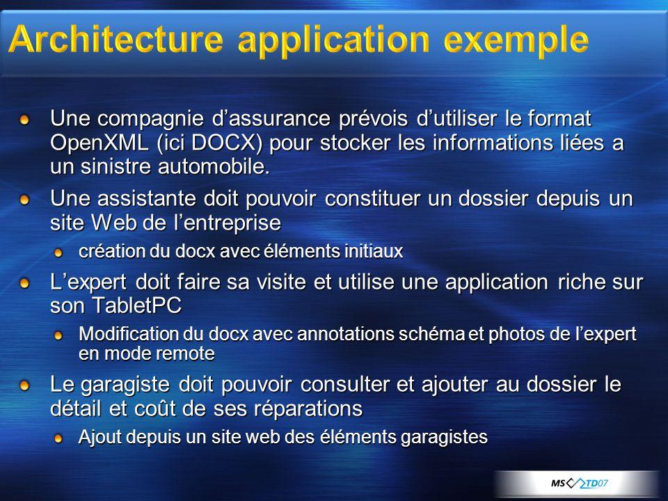 Une compagnie d'assurance prévois d'utiliser le format OpenXML (ici DOCX) pour stocker les informations liées a un sinistre automobile. Une assistante