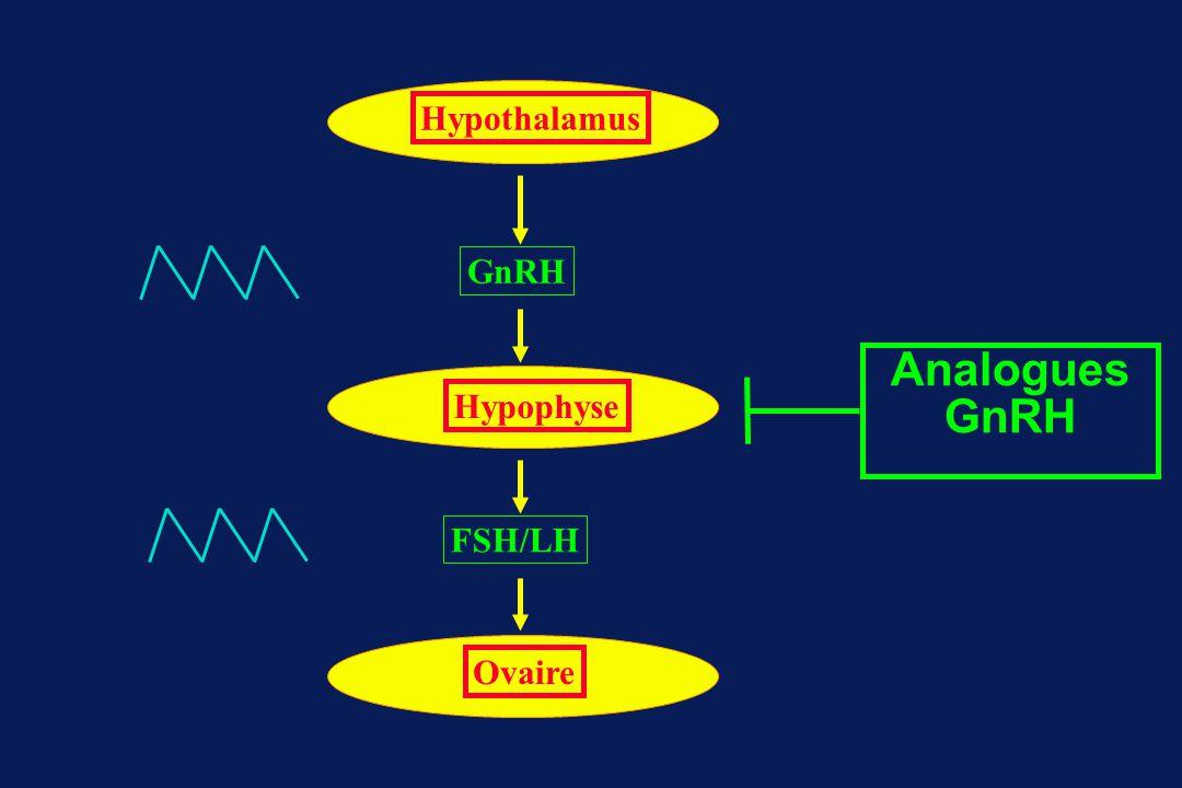 Analogues GnRH GnRH FSH/LH Hypothalamus Hypophyse Ovaire