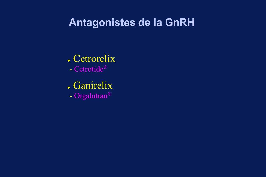 Protocole multidoses J 1 J 7 HMG or Pure FSH Antagoniste GnRH 0,25 mg/j à partir J6 de la stimulation Estrogènes, LH Echographie Protocole dose unique Antagonistes de la GnRH : protocoles HCG FSH ou CC+FSH à partir de J2 J 1 J 7 Antagoniste GnRH 3 mg à J6 de la stimulation Estrogènes, LH Echographie HCG FSH ou CC+FSH à partir de J2 Antagoniste GnRH 3 mg renouvelé 4j plus tard si besoin