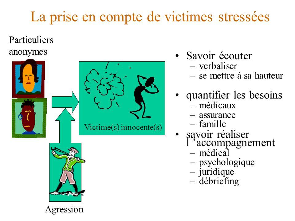La prise en compte de victimes stressées Victime(s) innocente(s) Particuliers anonymes Savoir écouter –verbaliser –se mettre à sa hauteur quantifier l