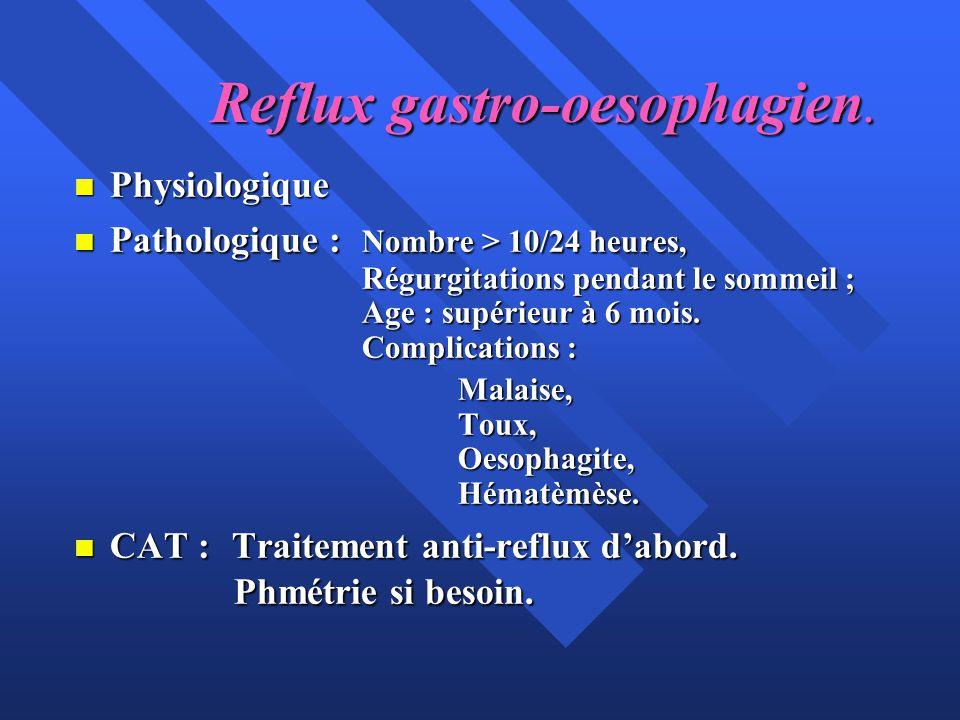 Reflux gastro-oesophagien. n Physiologique n Pathologique : Nombre > 10/24 heures, Régurgitations pendant le sommeil ; Age : supérieur à 6 mois. Compl