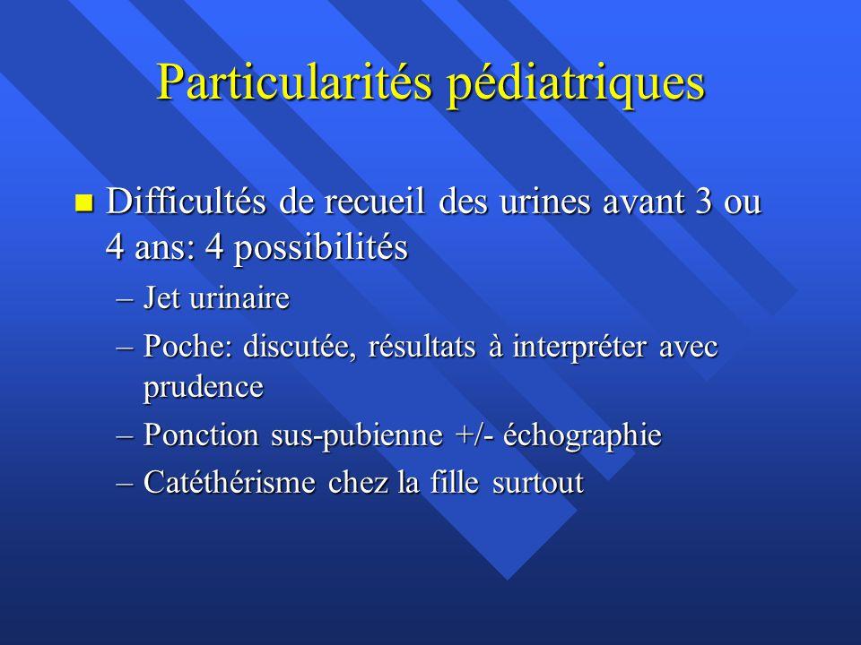 Particularités pédiatriques n Difficultés de recueil des urines avant 3 ou 4 ans: 4 possibilités –Jet urinaire –Poche: discutée, résultats à interprét