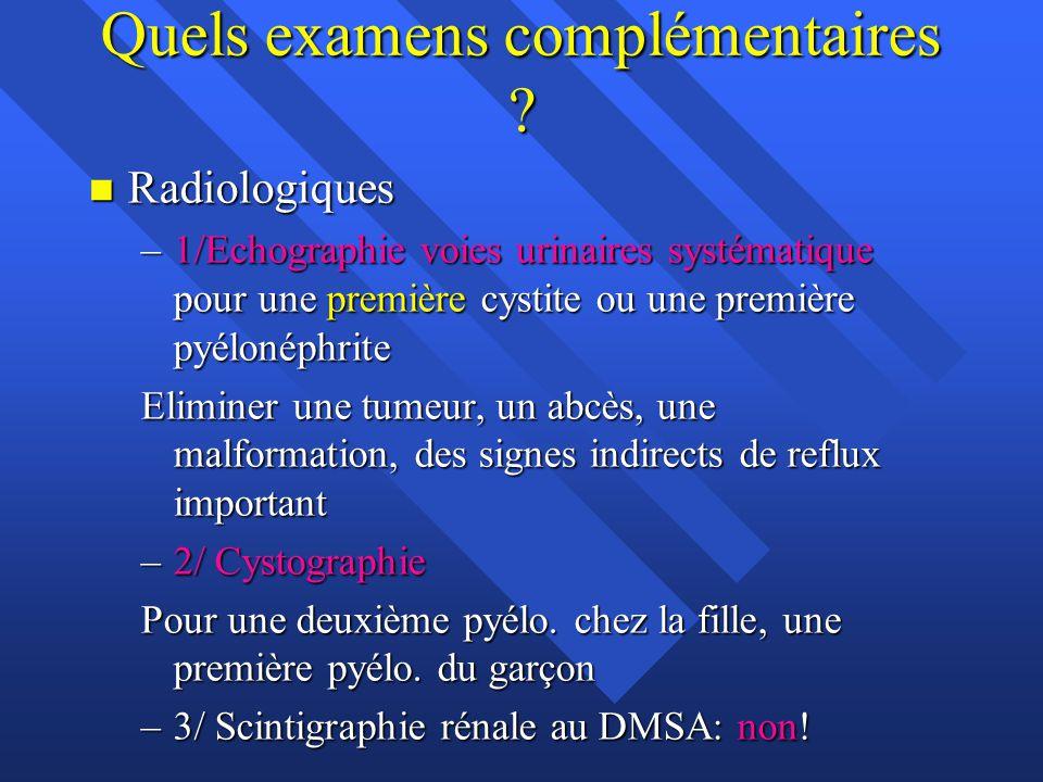Quels examens complémentaires ? n Radiologiques –1/Echographie voies urinaires systématique pour une première cystite ou une première pyélonéphrite El