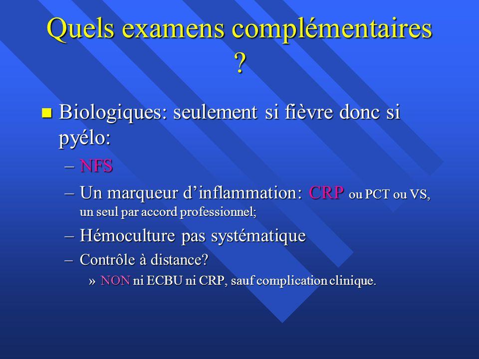 Quels examens complémentaires ? n Biologiques: seulement si fièvre donc si pyélo: –NFS –Un marqueur d'inflammation: CRP ou PCT ou VS, un seul par acco