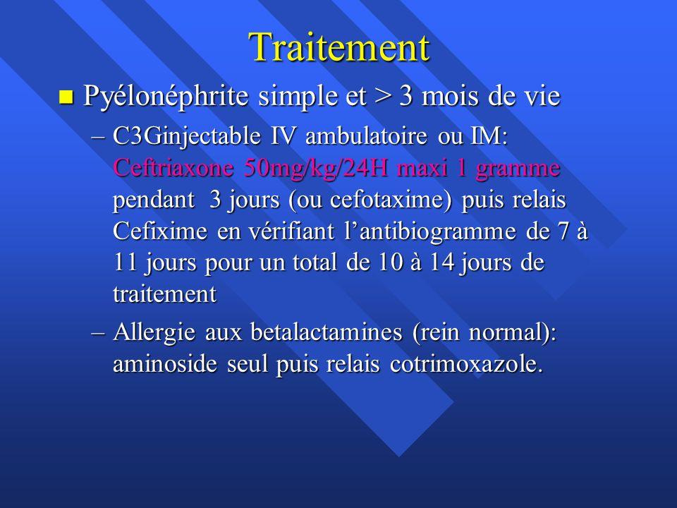 Traitement n Pyélonéphrite simple et > 3 mois de vie –C3Ginjectable IV ambulatoire ou IM: Ceftriaxone 50mg/kg/24H maxi 1 gramme pendant 3 jours (ou ce