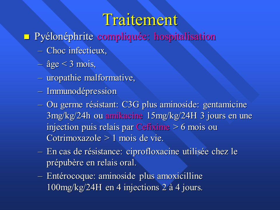 Traitement n Pyélonéphrite compliquée: hospitalisation –Choc infectieux, –âge < 3 mois, –uropathie malformative, –Immunodépression –Ou germe résistant