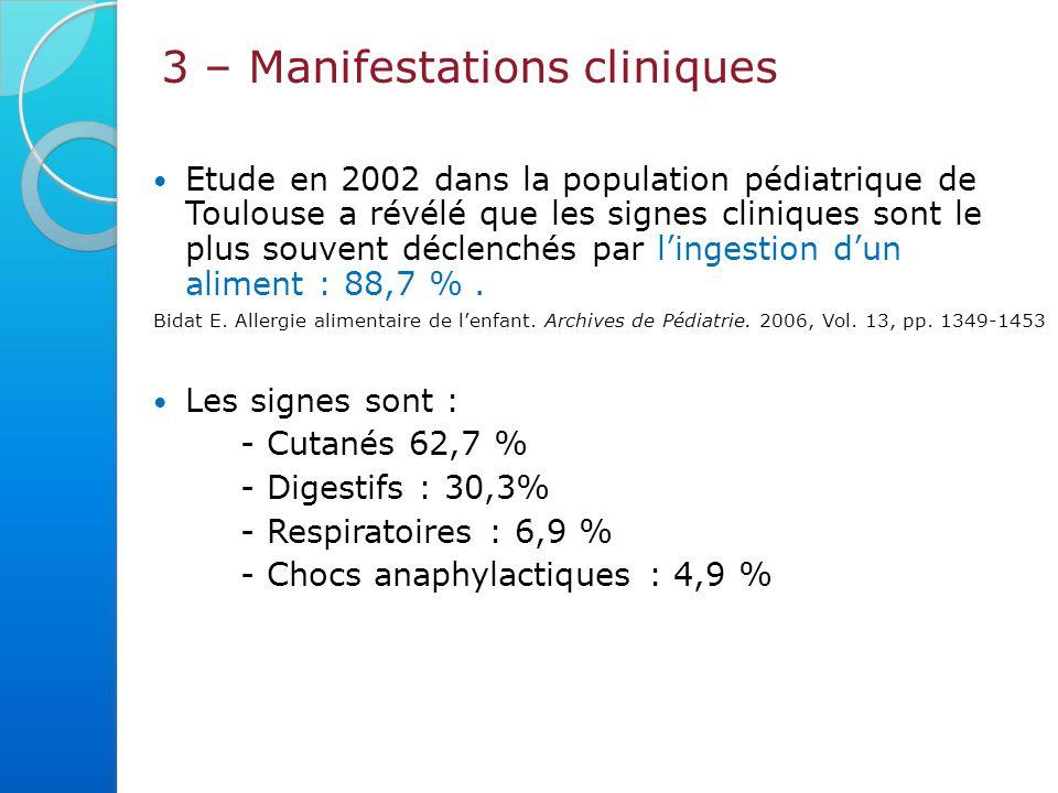 3 – Manifestations cliniques Cutanées, digestives, respiratoires,… Atteinte de plusieurs organes.