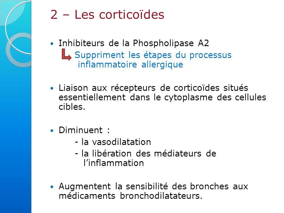2 – Les corticoïdes Inhibiteurs de la Phospholipase A2 Suppriment les étapes du processus inflammatoire allergique Liaison aux récepteurs de corticoïdes situés essentiellement dans le cytoplasme des cellules cibles.