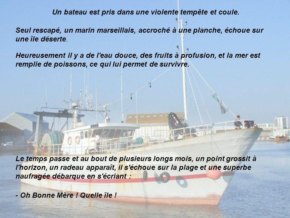 Un bateau est pris dans une violente tempête et coule. Seul rescapé, un marin marseillais, accroché à une planche, échoue sur une île déserte. Heureus