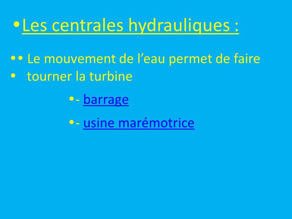  Les centrales éoliennes :  Le mouvement de l'air permet de faire  tourner la turbine