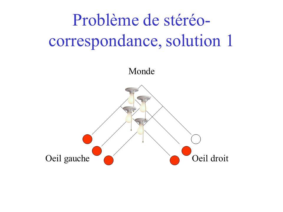 Problème de stéréo- correspondance, solution 1 Oeil gaucheOeil droit Monde