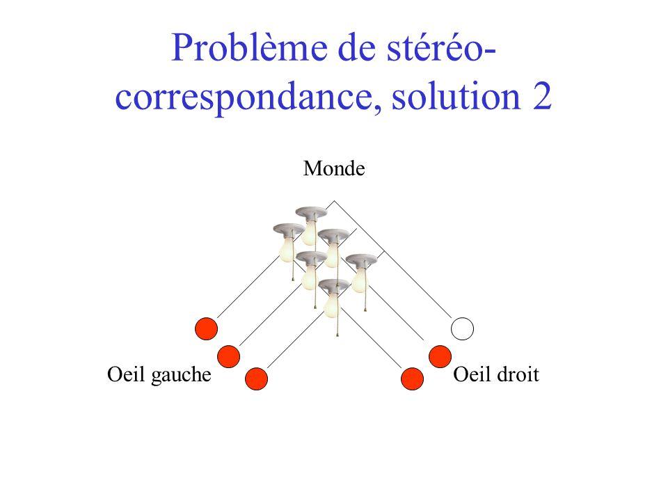 Problème de stéréo- correspondance, solution 2 Oeil gaucheOeil droit Monde