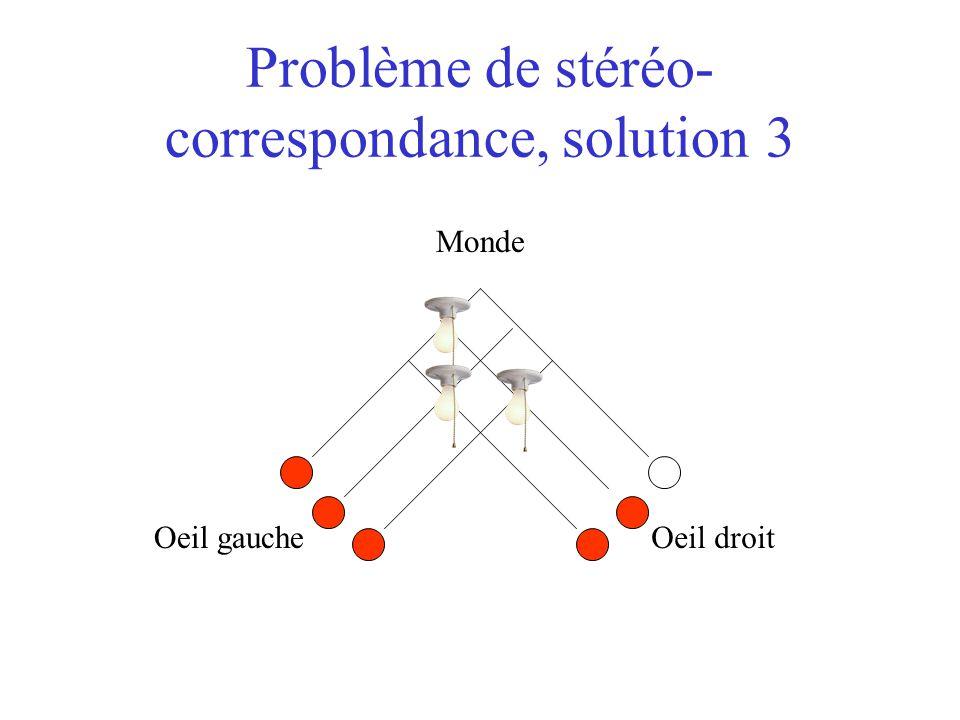 Problème de stéréo- correspondance, solution 3 Oeil gaucheOeil droit Monde