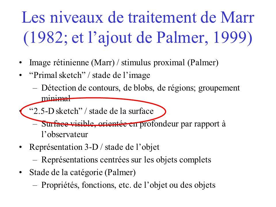 """Les niveaux de traitement de Marr (1982; et l'ajout de Palmer, 1999) Image rétinienne (Marr) / stimulus proximal (Palmer) """"Primal sketch"""" / stade de l"""