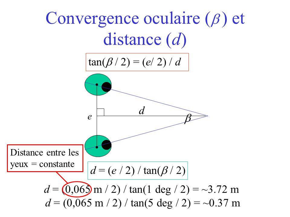 tan(  / 2) = (l/ 2) / d Convergence oculaire (   ) et distance (d) d = (e / 2) / tan(  / 2) e  d d = (0,065 m / 2) / tan(1 deg / 2) = ~3.72 m d