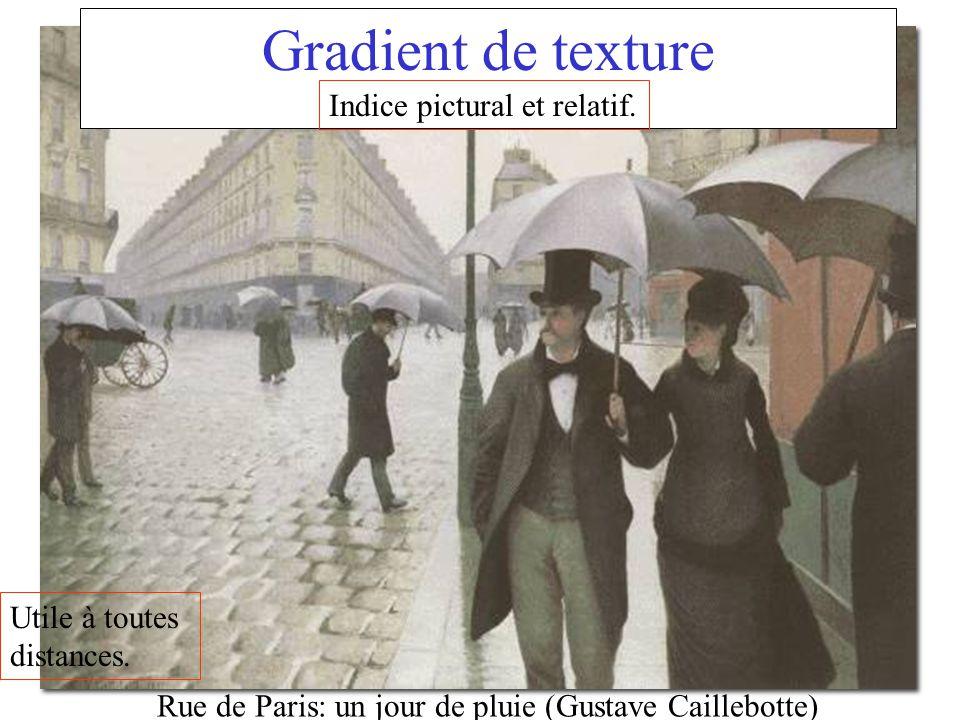 Rue de Paris: un jour de pluie (Gustave Caillebotte) Gradient de texture Indice pictural et relatif. Utile à toutes distances.