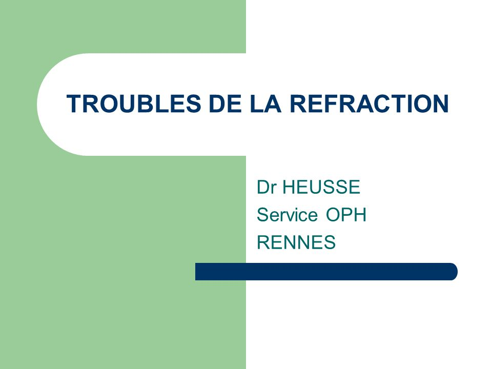 TROUBLES DE LA REFRACTION Dr HEUSSE Service OPH RENNES