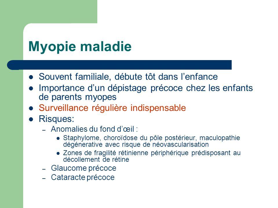 Myopie maladie Souvent familiale, débute tôt dans l'enfance Importance d'un dépistage précoce chez les enfants de parents myopes Surveillance régulièr