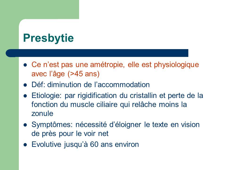 Presbytie Ce n'est pas une amétropie, elle est physiologique avec l'âge (>45 ans) Déf: diminution de l'accommodation Etiologie: par rigidification du