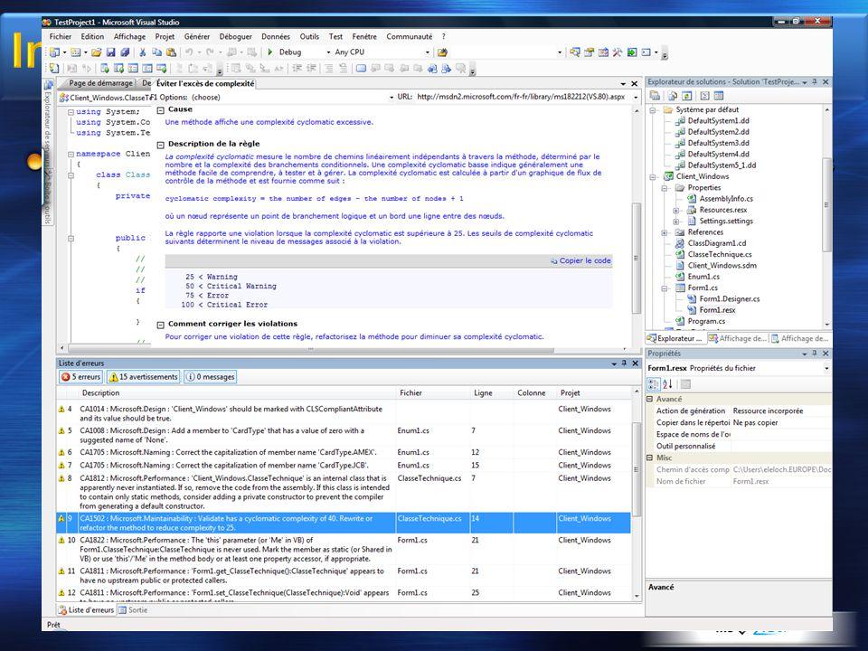 Complexité cyclomatique : complexité des modules logiciels, nombre de segments et nœuds de décision d'une classe ou méthode