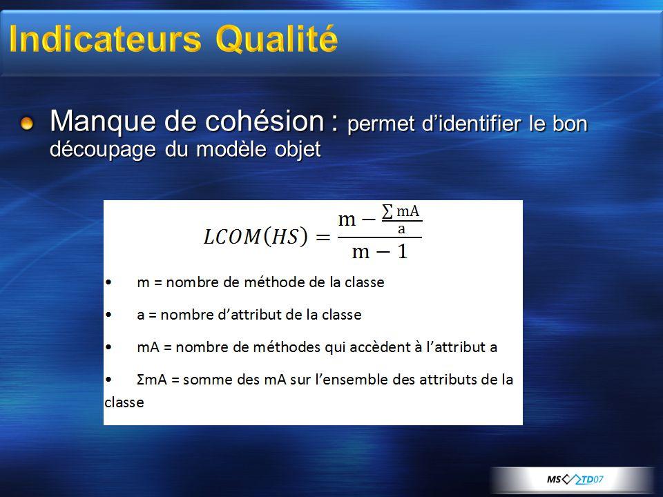 Manque de cohésion : permet d'identifier le bon découpage du modèle objet