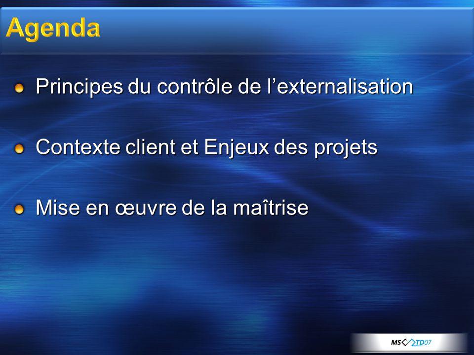 Principes du contrôle de l'externalisation Contexte client et Enjeux des projets Mise en œuvre de la maîtrise