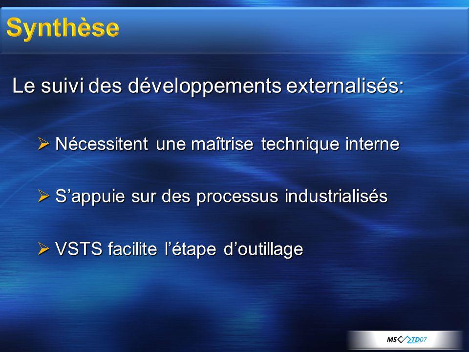 Le suivi des développements externalisés:  Nécessitent une maîtrise technique interne  S'appuie sur des processus industrialisés  VSTS facilite l'étape d'outillage