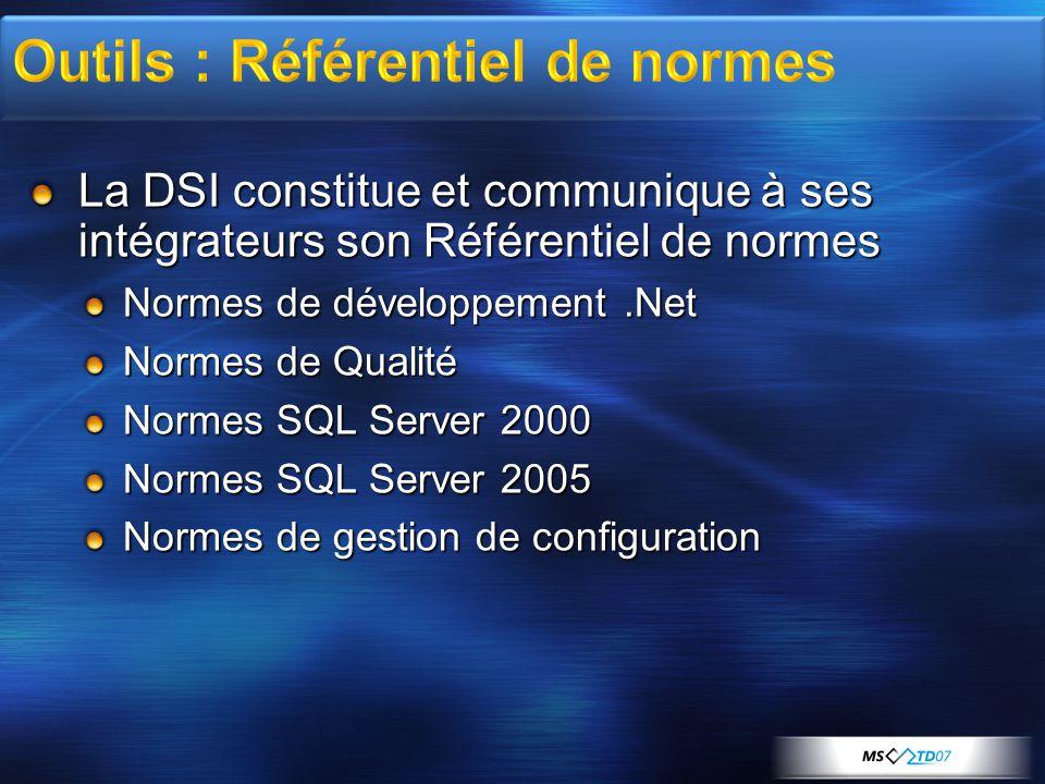 La DSI constitue et communique à ses intégrateurs son Référentiel de normes Normes de développement.Net Normes de Qualité Normes SQL Server 2000 Normes SQL Server 2005 Normes de gestion de configuration