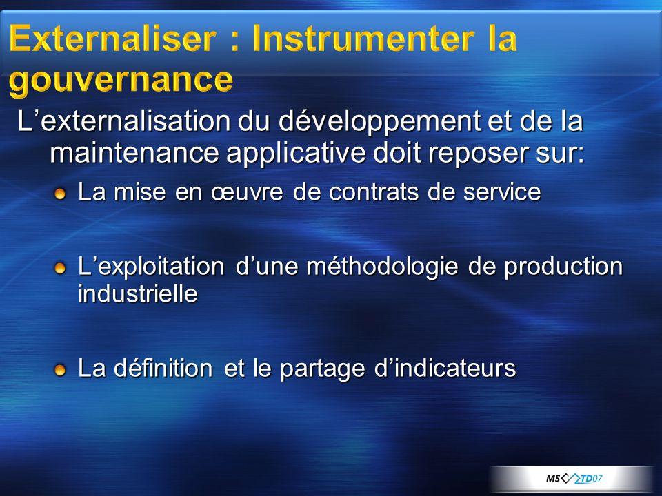 L'externalisation du développement et de la maintenance applicative doit reposer sur: La mise en œuvre de contrats de service L'exploitation d'une méthodologie de production industrielle La définition et le partage d'indicateurs