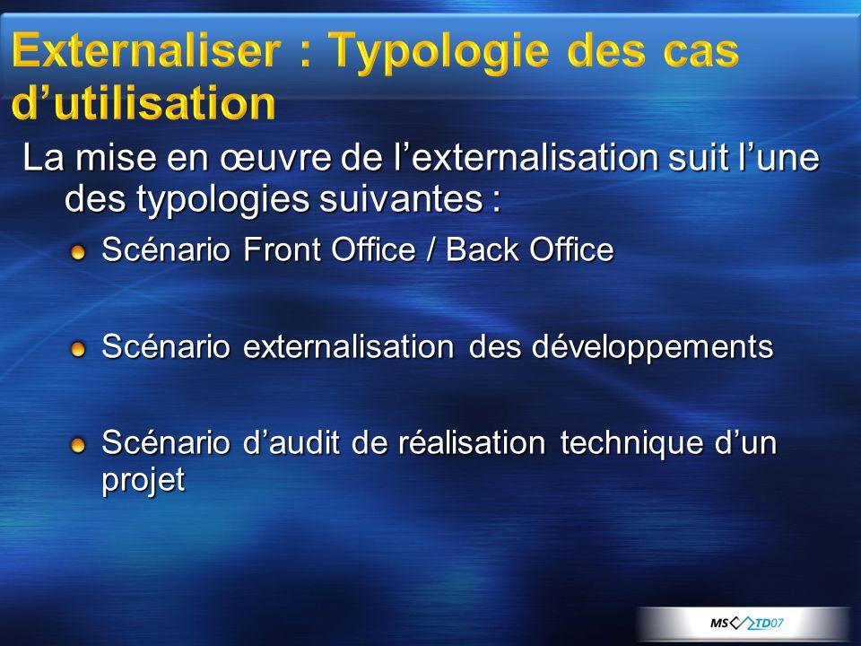 La mise en œuvre de l'externalisation suit l'une des typologies suivantes : Scénario Front Office / Back Office Scénario externalisation des développements Scénario d'audit de réalisation technique d'un projet