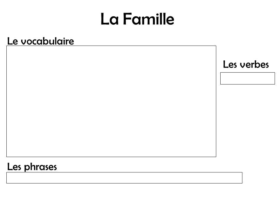La Famille Le vocabulaire Les phrases Les verbes