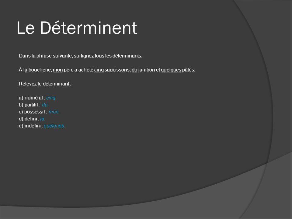 Le Déterminant Écrivez le déterminant qui convient selon les indications données entre parenthèses.
