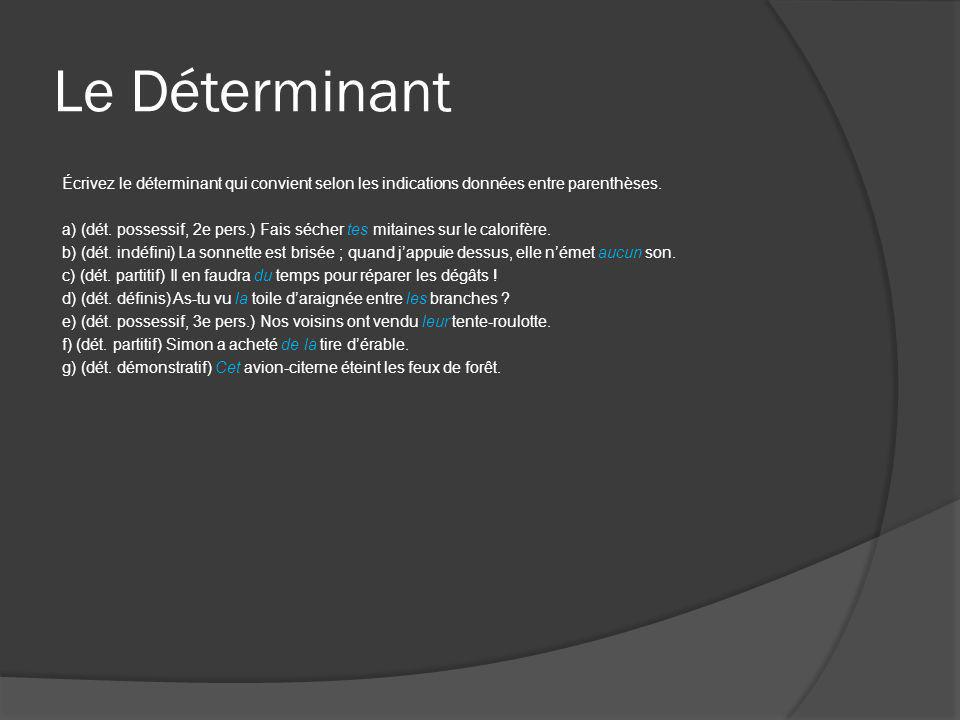 Le Déterminant Écrivez le déterminant qui convient selon les indications données entre parenthèses. a) (dét. possessif, 2e pers.) Fais sécher tes mita
